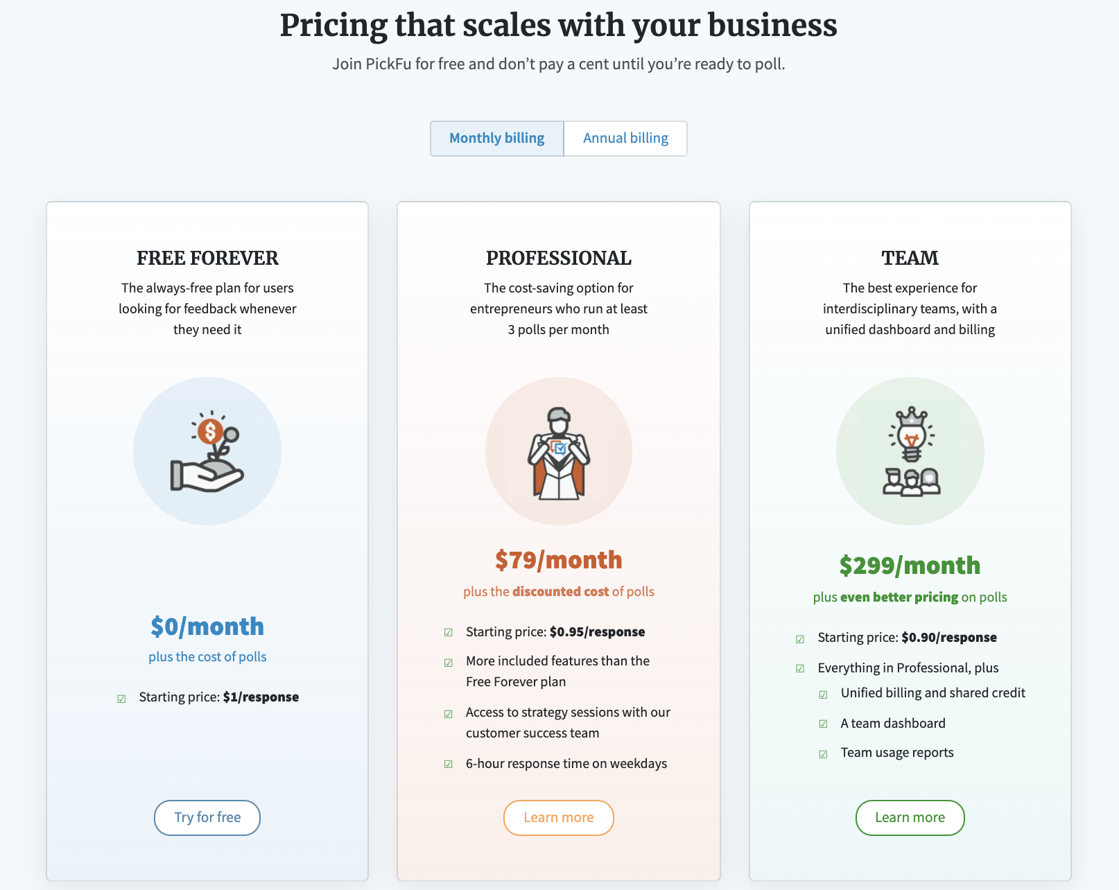 New at PickFu: screenshot of revamped PickFu pricing page