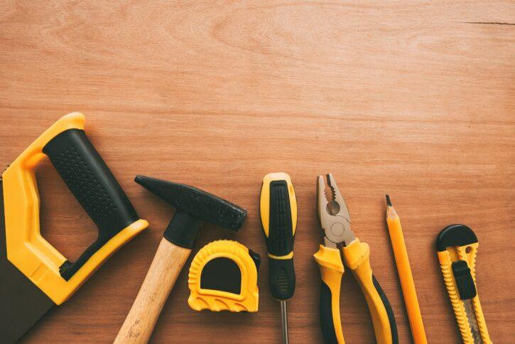 Top view of handyman housework repairing tools