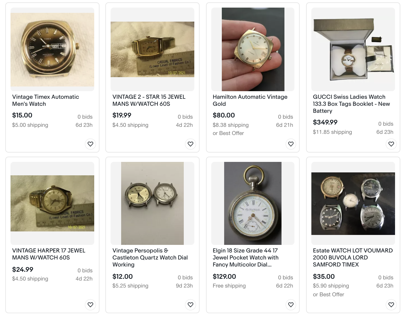 Top tips to selling on eBay: search results for vintage watches